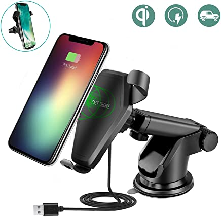 Flexible Wireless Car Charger Mount,QI Wireless Fast Charger For Samsung Galaxy S8, S7/S7 Edge, Note 8 5 & Standard Charge for iPhone X, 8/8 Plus & Qi Enabled Devices