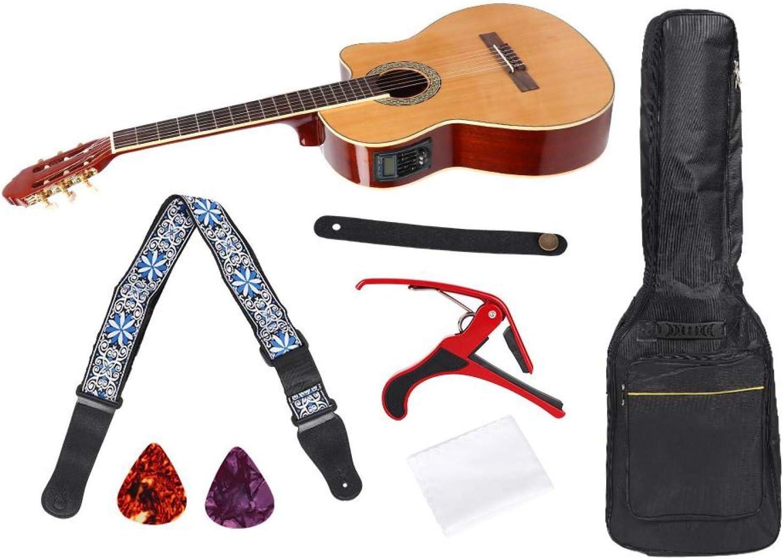 Cloudbox Guitarra Cutaway Juego de Guitarra clásica Cutaway de 39 Pulgadas con Caja eléctrica Pickup Capo Correa para el Hombro Bolsa de Transporte