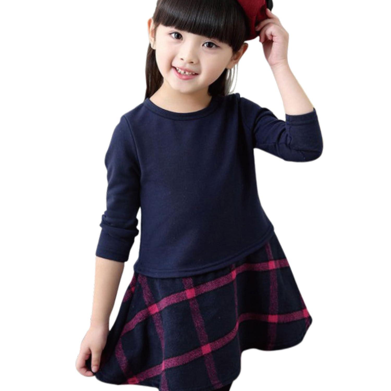 Eiza 女の子 ワンピース 長袖 フォーマル チェック 柄 e256