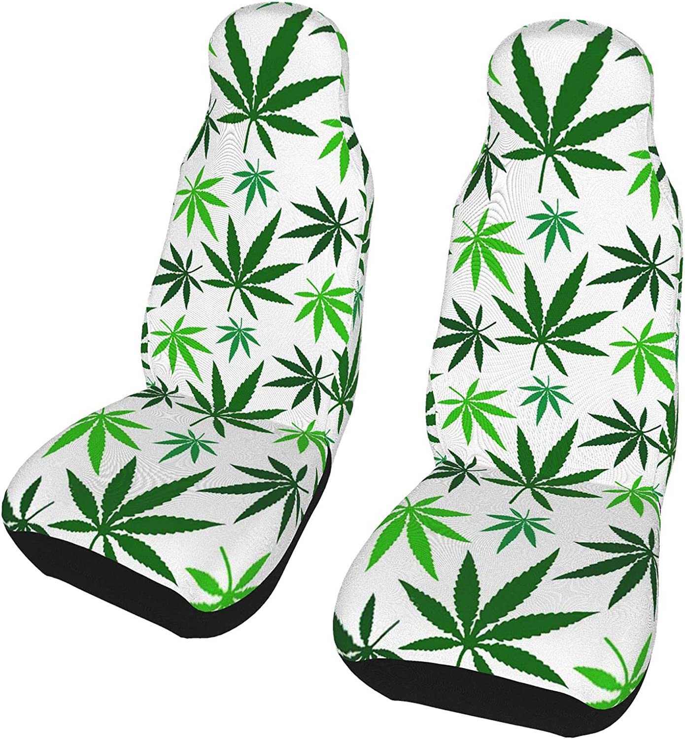 Green Weed Leaves Front Seat Covers Product 2 Univ Pcs Protector Set free Car