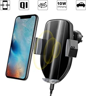 Wireless Car Charger Mount Auto Clamping Qi Car Mount, 10W Fast Charging Air Vent Car Phone Holder for Samsung S10 S10+ S10e Note 9 S9+ S8 S7 Edge, iPhone X XR XS Max 8 Plus, Huawei, Sony, LG