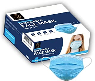 Samadhaan Disposable Mask - Safety Face Mask (Pack of 100) Non Woven Thick 3-Layer Breathable Facial Masks with Adjustable...