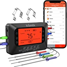 iclanda Wireless Fleischthermometer für Grill, 4 Sonden Grillthermometer mit..