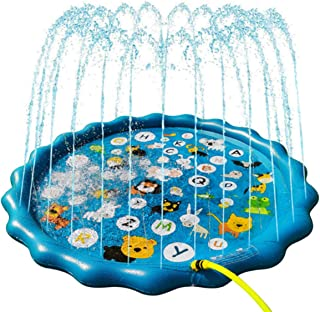 """Sprinkler Play Pad for Kids - 68"""" Splash Pad Outdoor Water Toys for Toddlers, Fun Backyard Fountain Play Mat, Baby Wading ..."""