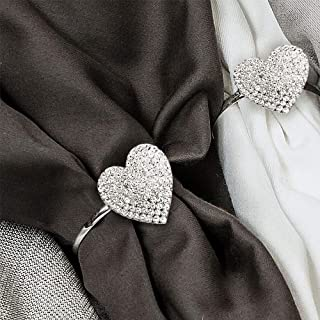 MW Decor: Napkin Rings Set of 12 for Dinner Party - Weddings - Holidays - Family Gatherings - Silver Sparkle with a Clear Rhinestone Decoration (Silver Heart)
