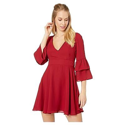 BB Dakota Always Classy Ruffle Sleeve Dress (Rouge) Women