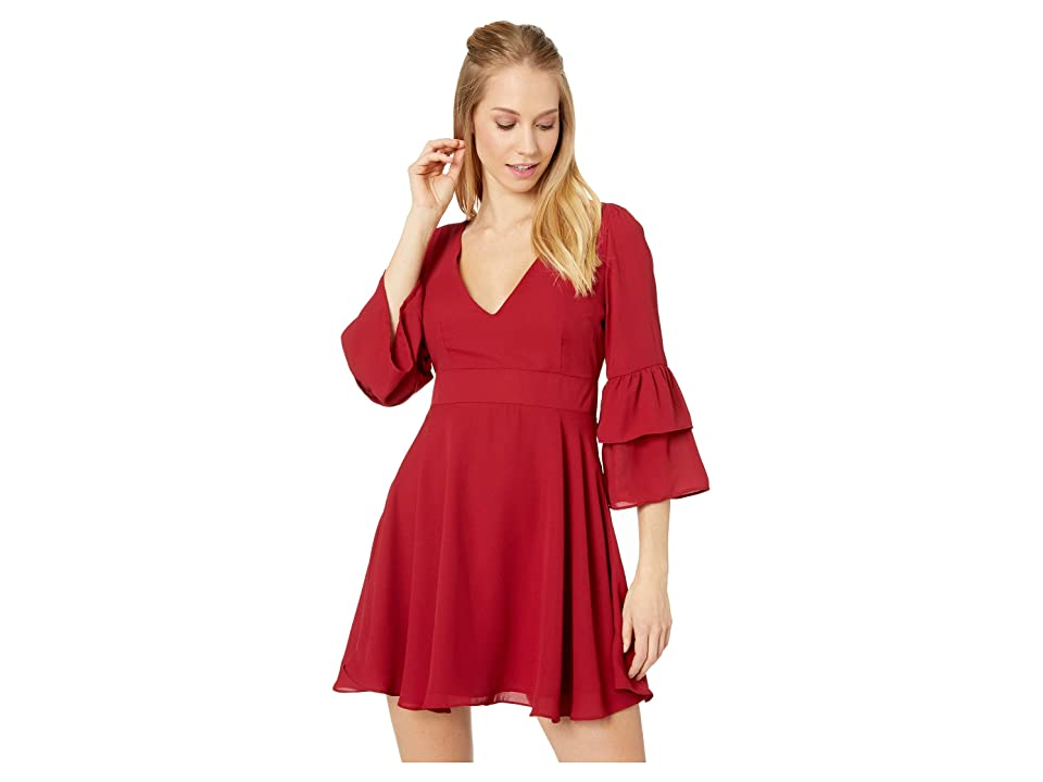 BB Dakota Always Classy Ruffle Sleeve Dress (Rouge) Women