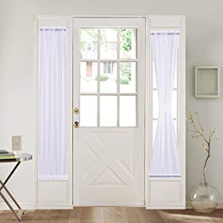 HOME BRILLIANT White French Door Curtain Panels Window Drapery Rod Pocket with Tie Back, Set of 2, 30 x 72 Inch Long