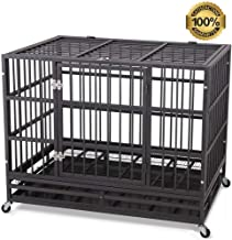 "JY QAQA PET Heavy Duty Dog Cage Strong Folding Metal Crate Kennel and Playpen for Medium and Large Dogs with Double Door, Two Prevent Escape Lock, Tray and Rolling Wheels (36"" 42"" 48"