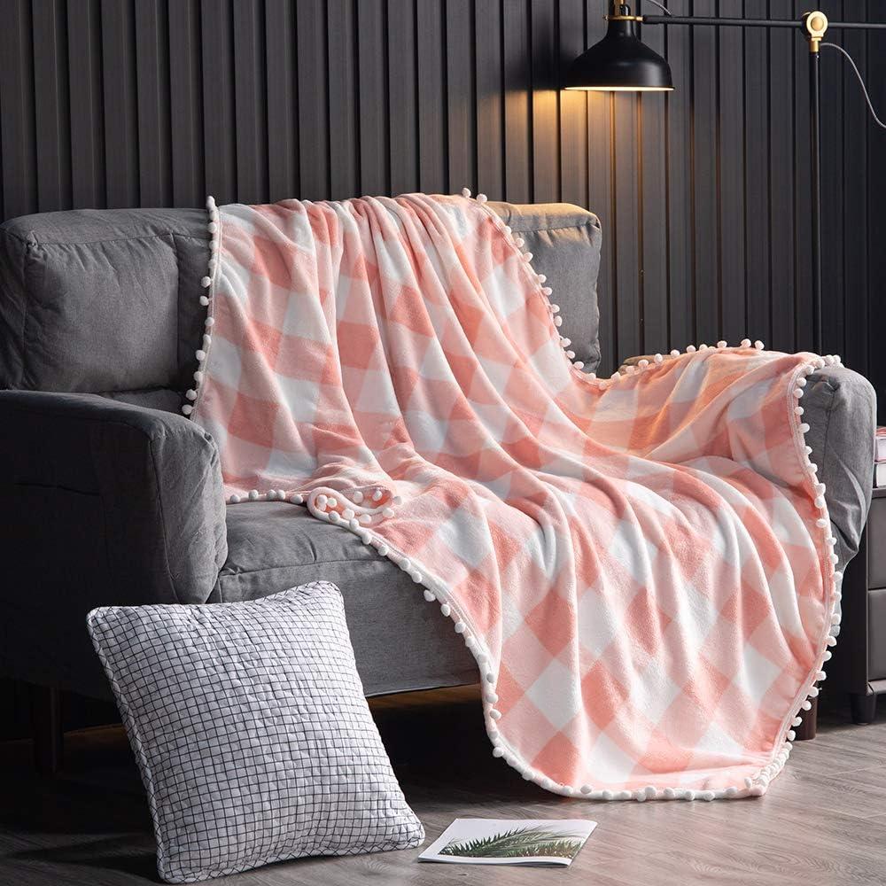 Flannel Fleece Buffalo Checked overseas Manufacturer OFFicial shop Blanket with Pompom for Fringe Qu