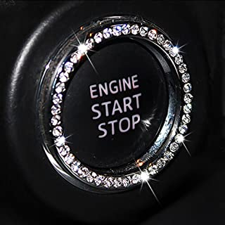 Auto Bling Crystal Ring Emblem Sticker Rhinestone Car Key Knob Interior Bling Push Button Start Engine Ignition Button Auto Decoration Decal Unique Sparkly Vehicle Rings Accessories