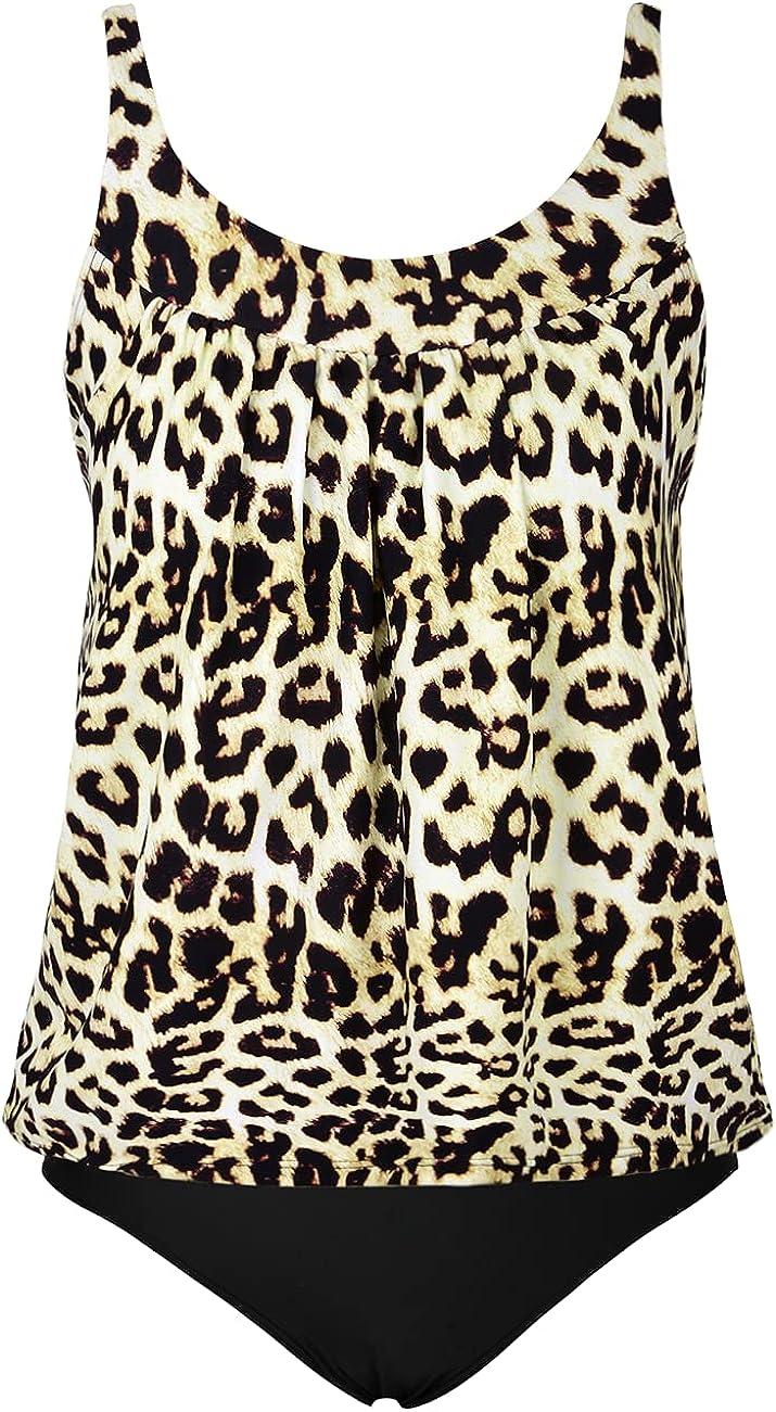 Hilor Women's Tankini Swimsuits Tummy Control Two Piece Bathing Suits Loose Fit Tankini Swimwear