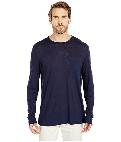 BLDWN Ethan Long Sleeve Linen T-Shirt (Navy) Men