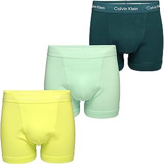 Calvin Klein Men's Cotton Stretch Boxer Shorts (3-Pack) (Maya Blue / Direct Green/ Aqua Luster) M