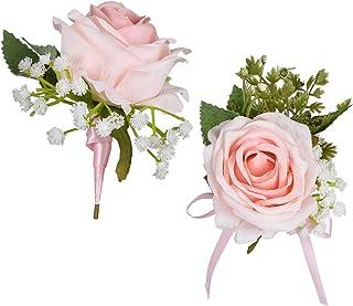 YQing Rose Boutonnière Corsage Poignet Mariage, Fleur Artificielle Rose Mini Bouquet Boutonnière Homme Faite à la Main ave...