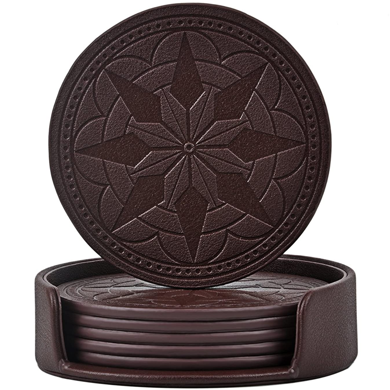 365park Coasters,PU Leather Coasters for Drinks Set of 6 with Holder-Protect Your Furniture from Stains,Coffee