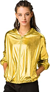 Allegra K Women's Holographic Shiny Long Sleeve Zipper Hooded Metallic Jacket