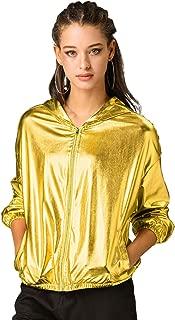 Allegra K Women's Holographic Shiny Long Sleeve Zipper Hooded Metallic Jacket