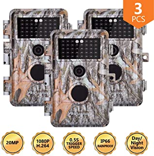 Folgtek Trail Camera Wildlife Cam Game Cam 1080P Night Vision Motion Activated, IP66 Waterproof, Password Protected, Short Trigger Time, (Grey X 3)