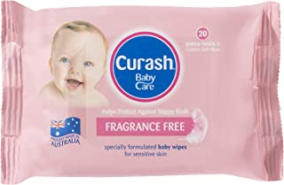 Curash Fragrance Free Baby Wipes Travel 20 PK