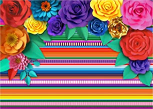 Mexican Theme Party Striped Backdrop Fiesta Cinco De Mayo Paper Flowers Background Party Decoration for Cake Table Decor Photo Booth 071