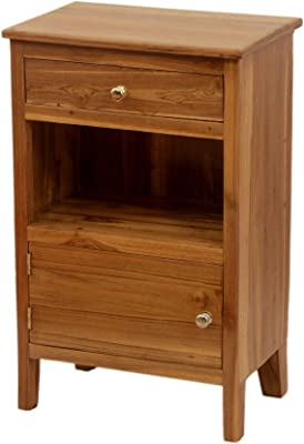 WOODSALA Durable Teak Wood Wooden Bedside & Plasma with Two Drawer in Gap