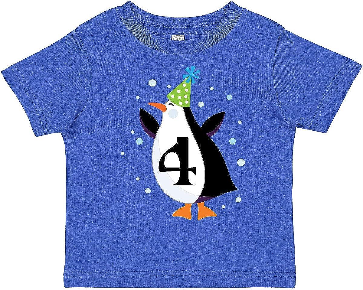 inktastic 4th Birthday Cute Penguin Toddler T-Shirt