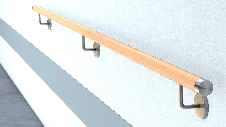 L/änge 30-500 cm aus einem St/ück//zum Beispiel L/änge 180 cm mit 3 gerade Halter Buche Holz Treppe Handlauf Gel/änder Griff gerade Edelstahlhalter Enden =leicht gew/ölbte Edelstahlkappe