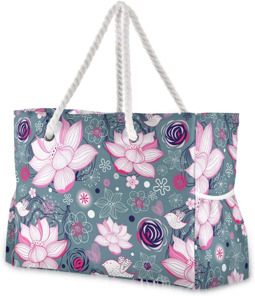 Large Beach Bags At the price Totes Selling and selling Canvas Tote Flo Floral Lotus Shoulder Bag