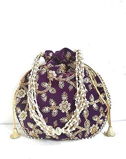 4EVER Velvet Potli for Women's | Designer Rajasthani Style Royal Clutch Silk Batwa Bag | Zari Work Potli