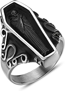 Jewelry Vintage Portrait Vampire Coffin Ring for Men's Stainless Steel Rings