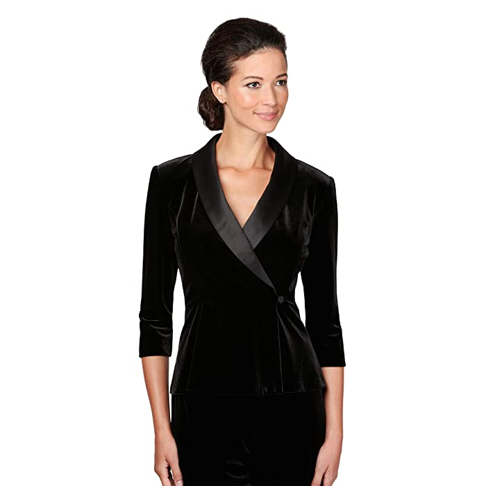 1930s Style Clothing and Fashion Alex Evenings Petite 34 Sleeve Side Closure Blouse Black Womens Clothing $119.00 AT vintagedancer.com