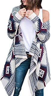 Women Casual Floral Print Sweater Long Sleeve Drape Open Front Knit Cardigan