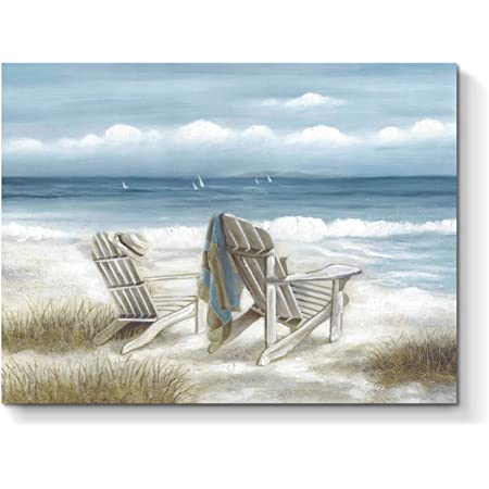 Abstract Seascape Canvas Wall Art Beach Chair On Sand Painting Print For Bedroom 24 X 18 X 1 Panel Posters Prints