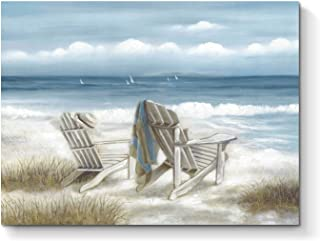 Abstract Seascape Canvas Wall Art: Beach Chair on Sand Painting Hand Painted Artwork for Bedroom (24'' x 18'' x 1 Panel)