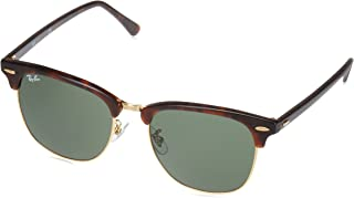 RB3016F Clubmaster Square Asian Fit Sunglasses, Mock Tortoise Gold/Green, 55 mm