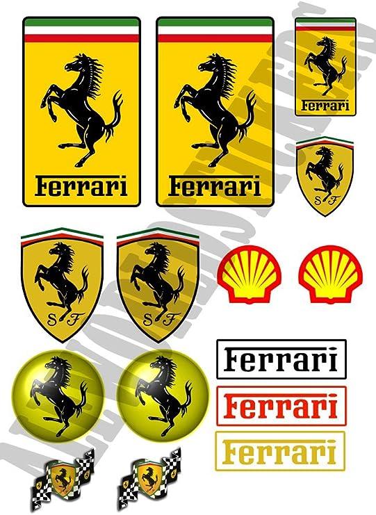 Aws Set 15 Wasserdichte Aufkleber Replica Ferrari Für Auto Motorrad In 2 Größen Mit Dem Plotter Zugeschnitten Aufkleber Logo Wasserdichte Sticker Foglio A4 29 7x21cm Auto