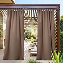 NICETOWN Outdoor Curtain for Pergola Waterproof, Thermal Tab Top Blackout Indoor Outdoor Vertical Drape, Windproof and Keep Privacy for Gazebo/Bath (Single Panel, W52 x L95 inch, Tan)