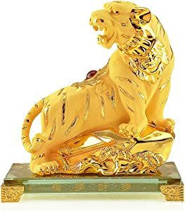 BOYULL Large Size Chinese Zodiac Tiger Year Golden Resin Collectible Figurines Table Decor Statue