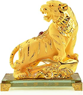 Wenmily Large Size Chinese Zodiac Tiger Golden Resin Collectible Figurines Table Decor Statue