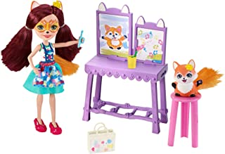 Enchantimals Art Studio Playset with Felicity Fox Doll and Flick Fox, 6-inch Small Doll, with Easel, Stool and Smaller Art...