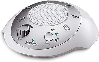 ماشین صدا سفید صدا | درمان قابل حمل خواب در منزل ، دفتر ، کودک و مسافرت | 6 آرامش بخش و آرامش بخش برای تلفن های موبایل طبیعت ، گزینه های شارژ باتری یا آداپتور ، تایمر خودکار | HoMedics Sound Spa