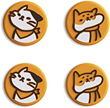 eXtremeRate PlayVital – Tampas de polegar com interruptor fofo para gatinho e cachorro, tampas amarelas com cuidado para N...