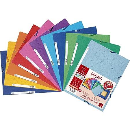 Exacompta - Réf. 55510AMZE - Un lot de 11 chemises à élastiques 3 rabats en carte lustrée (10 + 1 gratuite) 24x32 cm 400 g/m² - Format à classer A4 - 10 couleurs assorties