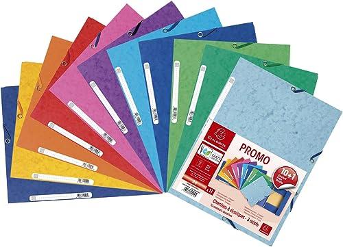 Exacompta - Réf. 55510AMZE - Un lot de 11 chemises à élastiques 3 rabats en carte lustrée (10 + 1 gratuite) 24x32 cm ...