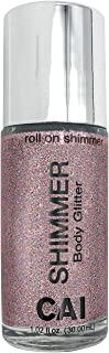 CAI Beauty NYC Rose Gold Pink Glitter | Easy to Apply, Easy to Remove | Roll On Shimmer for Body, Face and Hair | Holograp...