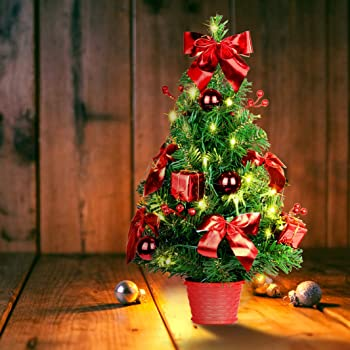 SHareconn 20 Inch Artificial Tabletop Mini Christmas Tree, Small Xmas Tree with Pre-Lights and Red Ornaments, Perfect for Table and Desk Decor