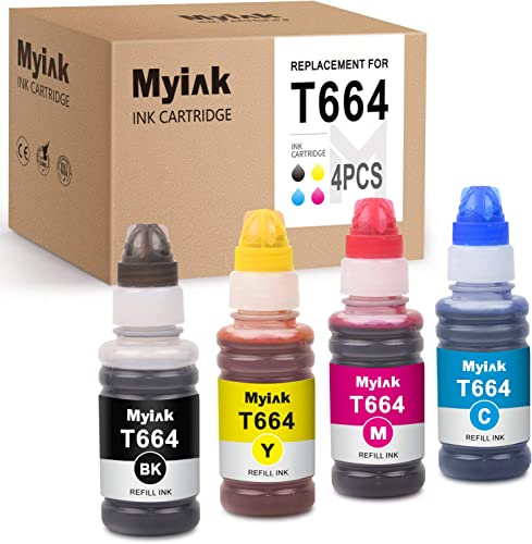 popular MYIK Compatible Ink Bottle Replacement for sale Epson 664 T664 Use with Expression ET-4500 ET-2650 ET-2600 ET-2500 ET-2550 wholesale ET-16500 (Black Cyan Magenta Yellow, 4-Pack) outlet online sale