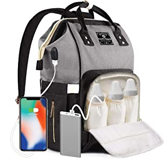 ComfyDegree Diaper Bag Backpack, Large Baby Multifunction Waterproof Fabric Travel Nappy Changing Backpack with USB Charging Port and Insulated Bottle Warmer Pockets for Mom and Dad (Black - Gray)
