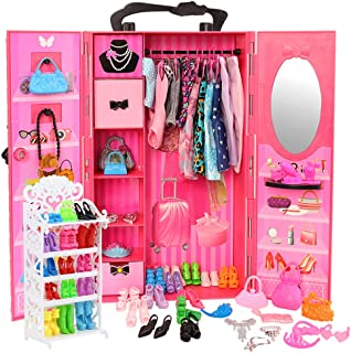 Barwa 73 Accessories for 11.5 Inch 28 - 30 cm Girl Doll: 1 Fashion Closet Wardrobe + 1 Shoe Rack + 16 Dresses Clothes + 10...